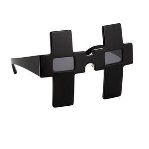 JEREMY SCOTT x LINDA FARROW Cross Black Sunglasses